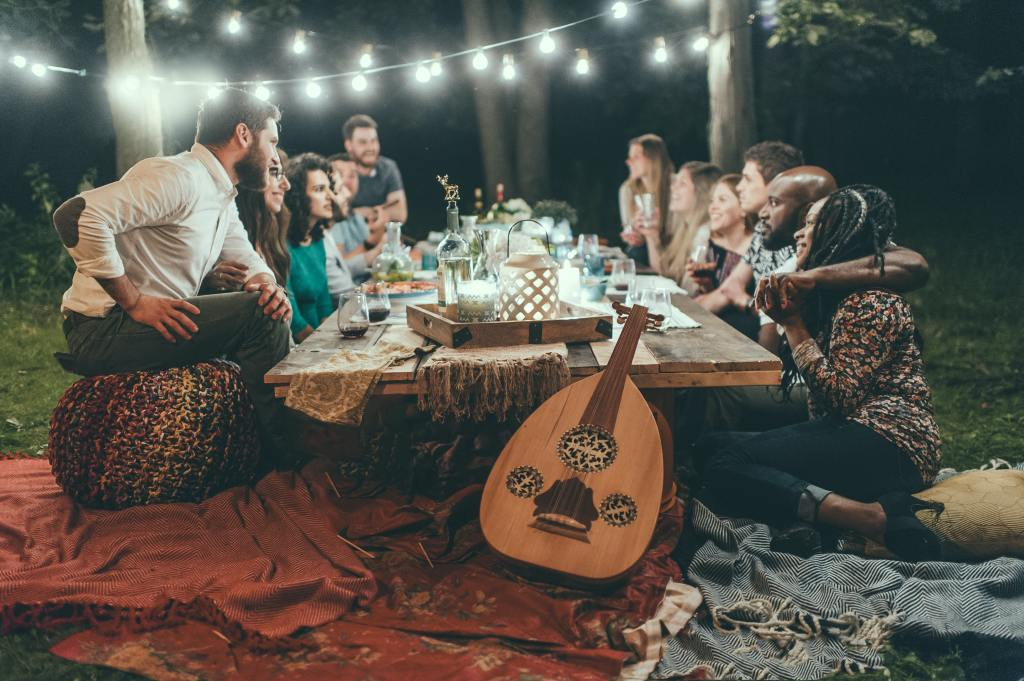 backyard party for millennials with food and music